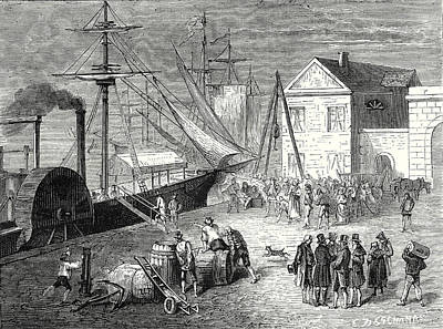Fulton Boards His Steamboat The Clermont In New York Art Print by Robert Fulton, American School