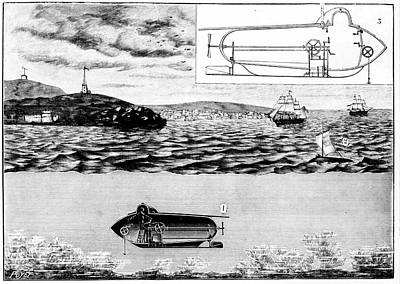 Fulton's Nautilus Submarine Art Print by Universal History Archive/uig