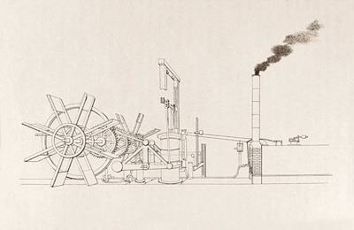 Fulton's Paddleboat Engine Print by Science, Industry And Business Library/new York Public Library
