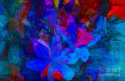 Fun Abstract Flowers In Blue Art Print by Sherri's Of Palm Springs