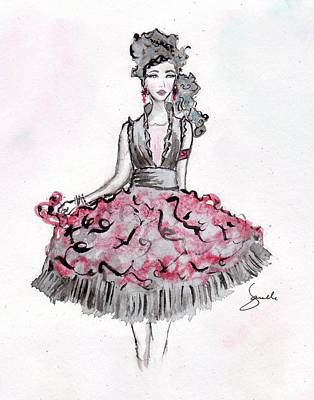 Red And Black Party Dress Sketch Art Print by Janelle Nichol