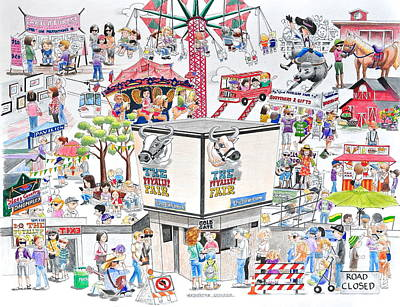 Drawing - Fun Fair by Gertrudes  Asplund