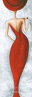 Fun Figurative Fashion Pop Art Lady In Red 2 By Megan Duncanson Art Print by Megan Duncanson