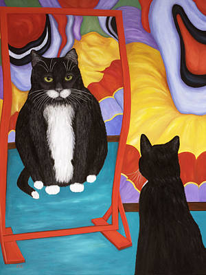 Art Print featuring the painting Fun House Fat Cat by Karen Zuk Rosenblatt