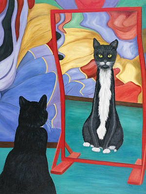 Art Print featuring the painting Fun House Skinny Cat by Karen Zuk Rosenblatt