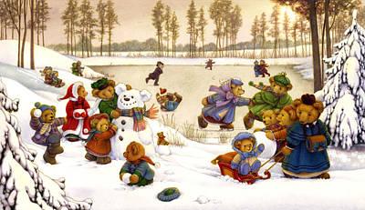 Fun In The Snow Print by Carol Lawson