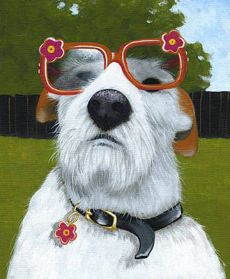 Fun In The Sun ... Dog With Glasses Painting Original