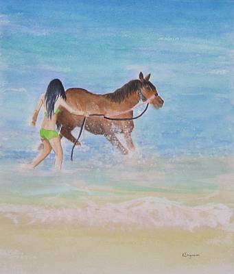 Painting - Fun On The Beach by Elvira Ingram