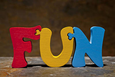 Fun Puzzle Painted Wood Letters Print by Donald  Erickson
