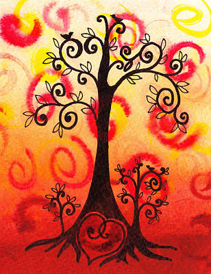 Cat Sunset Painting - Fun Tree Of Life Impression Vi by Irina Sztukowski