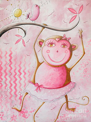 Fun Whimsical Pink Monkey Princess Baby Girl Nursery Painting By Megan Duncanson Art Print by Megan Duncanson