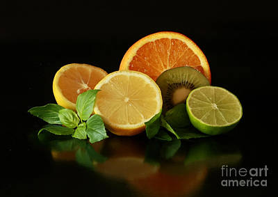 Fun With Citrus And Kiwi Fruit Art Print by Inspired Nature Photography Fine Art Photography