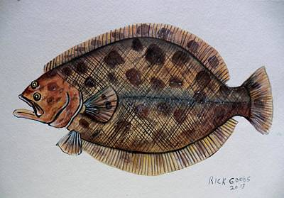 Flounder Painting - Fun With Flounder by Richard Goohs
