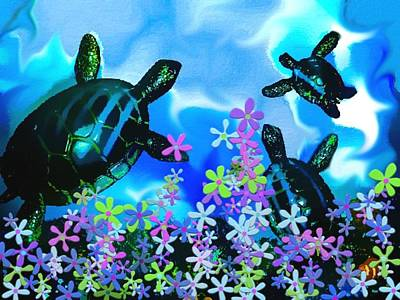Fun With Sea Turtles Print by Lady Ex