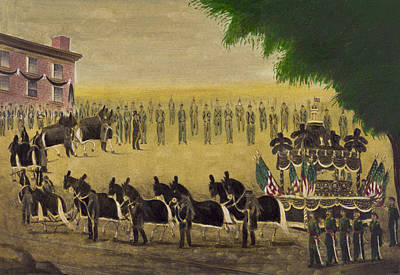 Politicians Drawings - Funeral car of President Lincoln circa 1879 by Aged Pixel