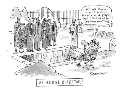 Cemetery Drawing - 'funeral Director' by Danny Shanaha