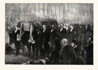 The David Art Drawing - Funeral Of Dr. Livingstone In Westminster Abbey by English School