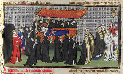 Ou Photograph - Funeral Procession Of Queen Jeanne by British Library