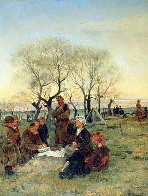 Sadness Photograph - Funeral Repast At The Grave, 1884 Oil On Canvas by Vladimir Egorovic Makovsky