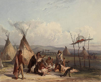 Funeral Digital Art - Funeral Scaffold Of A Sioux Chief by Karl Bodmer