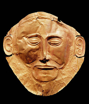 Funerary Mask From Mycenae, Formerly Thought To Be That Of Agamemnon Gold Art Print by Mycenaean