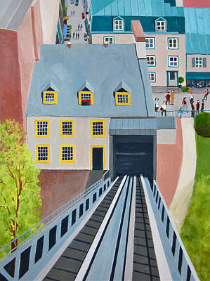 Quebec Cities Painting - Funicular In Quebec City by Toni Silber-Delerive