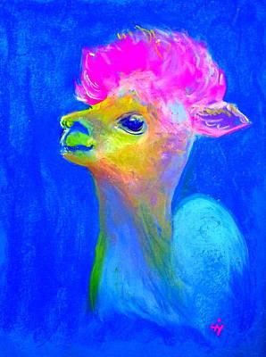 Alpaca Painting - Funky Baby Alpaca by Sue Jacobi