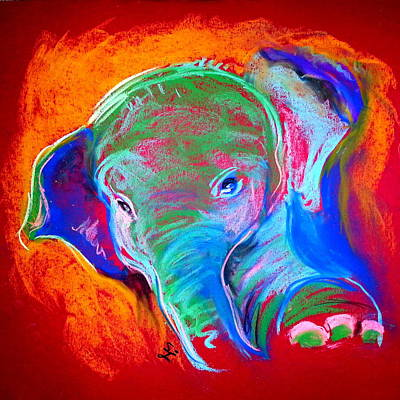 Soft Pastel Painting - Funky Baby Elephant Blue by Sue Jacobi