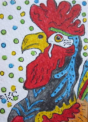 Funky Cartoon Rooster Art Print