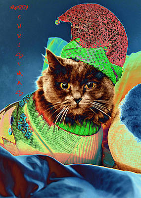 Photograph - Funky Christmas Cat 2 by Joann Vitali