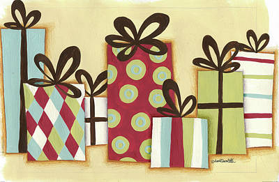 Christmas Gift Painting - Funky Christmas I by Anne Tavoletti