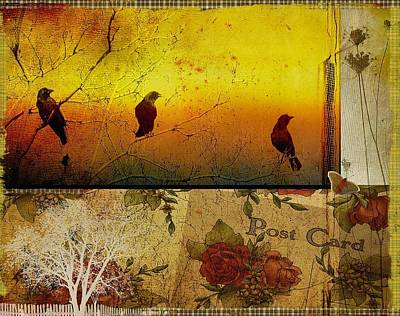 Funky Crows Collage Art Print