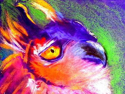 Colorful Eagle Painting - Funky European Eagle Owl Art Print by Sue Jacobi