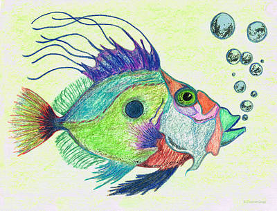 Funky Painting - Funky Fish Art - By Sharon Cummings by Sharon Cummings