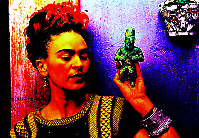 Mixed Media - Funky Frida II by Michelle Dallocchio