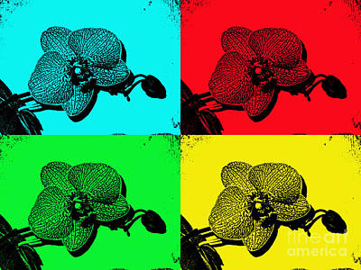 Photograph - Funky Grunge Pop Art Orchids by Renee Trenholm