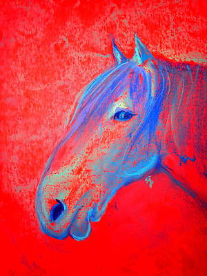 Horse Pastels Painting - Funky Handsome Horse Blue by Sue Jacobi