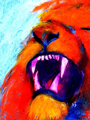 Yawning Painting - Funky Lion Roaring Jungle King by Sue Jacobi