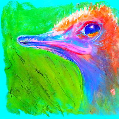 Funky Ostrich Profile Art Print by Sue Jacobi