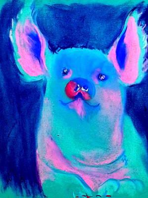 Funky Piggy Blue Art Print