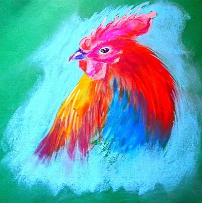 Pastel Barns Painting - Funky Rooster Art Print by Sue Jacobi