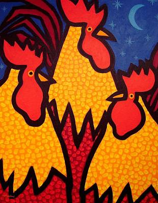 Dot Art Painting - Funky Roosters by John  Nolan