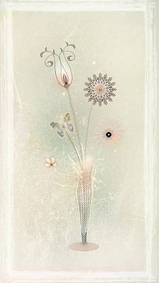 Funky Spring Bouquet Art Print by Bernie  Lee