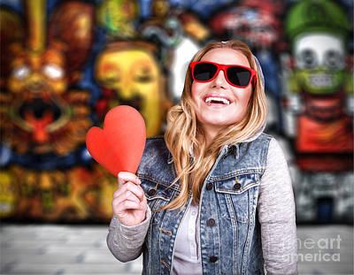 Funky Teen Girl In Love Art Print by Anna Om