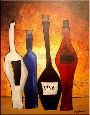 Gino Painting - Funky Vino 3 by Gino Savarino