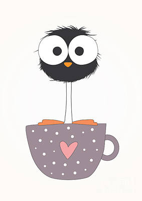 Digital Art - Funny Bird On A Cup Illustration by Mers1na