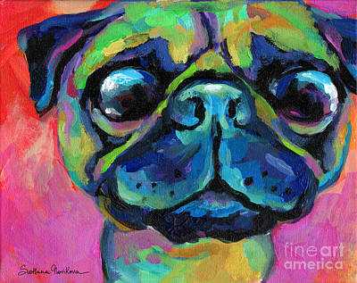Bug Eyes Painting - Funny Bug Eyed Pug  by Svetlana Novikova