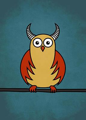 Funny Cartoon Horned Owl  Art Print by Boriana Giormova