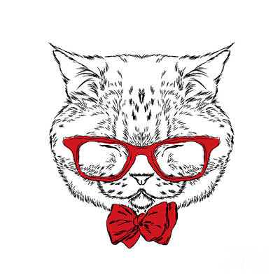 Breed Wall Art - Digital Art - Funny Cat In A Tie And Glasses. Vector by Vitaly Grin