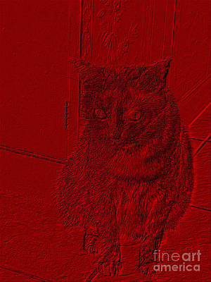 Digital Art - Funny Cat Red Portrait by Oksana Semenchenko